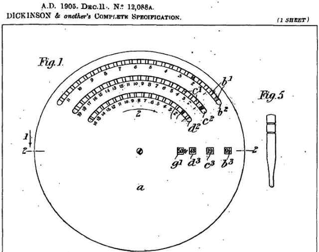 BriCal British Patent 12088A Figure 1 and 5 H Dickinson