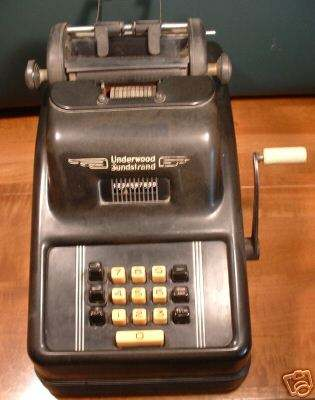 Underwood Sundstrand Adding Machine (source ebay)